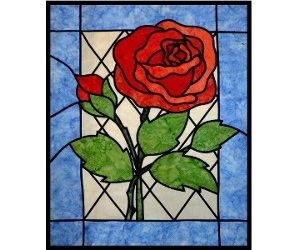 stained glass rose designed by Ruth Blanchet