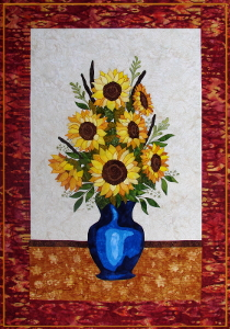Sunflower Bouquet an applique quilt pattern made using Hoffman Fabrics