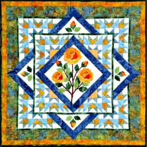 the rose quilt - a quilt design with yellow and orange roses