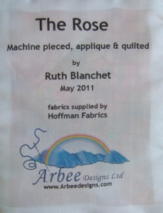 quilt label for the rose