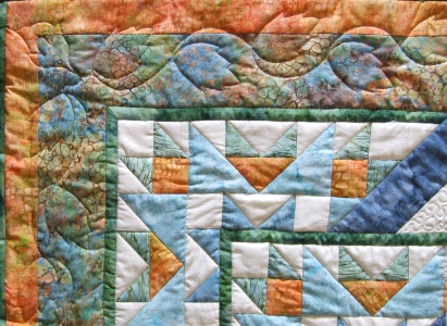 quilted leaves around the rose border